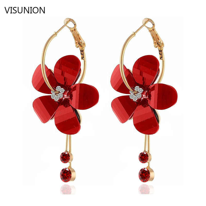 Fashion Acrylic Flower Crystal Tassel Drop Earrings for Women Girls Elegant  5 Petal Flower Hoop Transparent Earrings (4 colors)