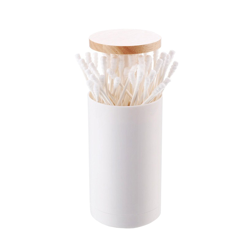 Cotton Swab Makeup Organizers Press Automatic Cosmetic Box Holder Case Tube Wooden Cover Bathroom Storage Accessories Supplies