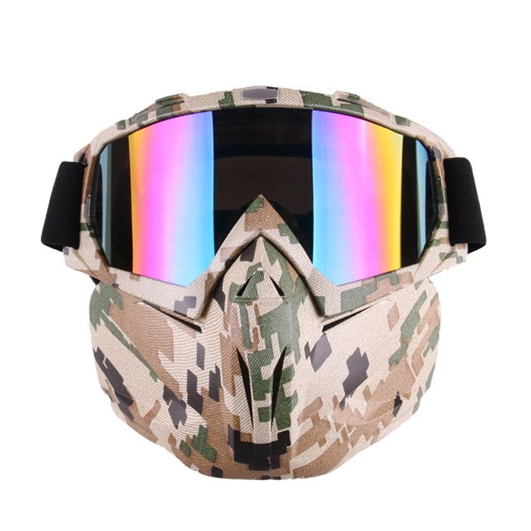 LumiParty Unique Motocross Goggles Glasses Face Dust Mask With Detachable Motorcycle Mouth Filter Goggles Mask Double Foam