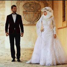 Eightale Arabic Long Sleeves Lace Muslim Wedding Dress