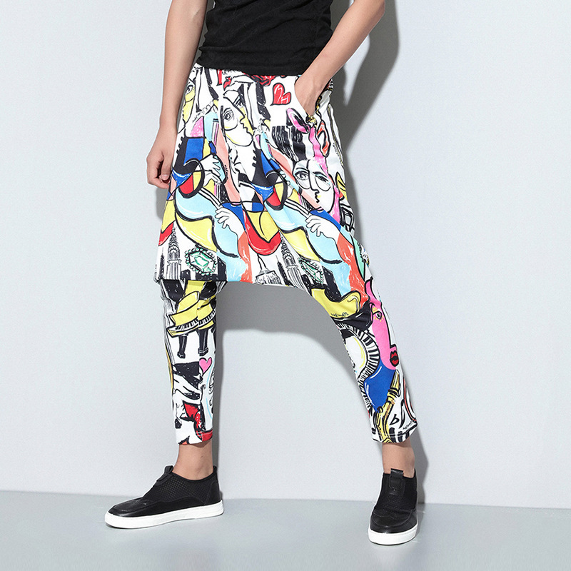 Male Pants Joggers Streetwear Loose Fashion Tide Homme Printing Easy New-Pattern Personality