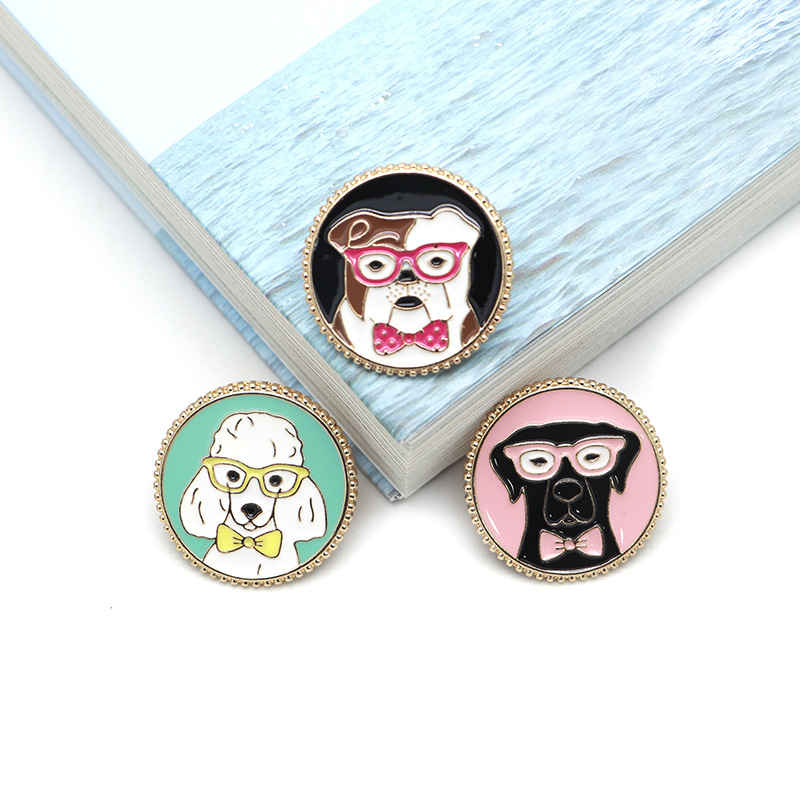 Arts,crafts & Sewing Badges Cartoon Animal Brooches Round Dog Enamel Pin For Girls Lapel Pin Hat/bag Pins Denim Jacket Shirt Women Brooch Badge Sc4435 Products Are Sold Without Limitations