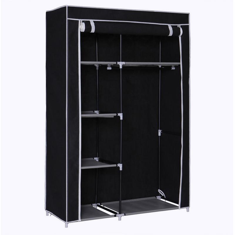 """100% QualitäT 64 """"tragbare Closet Lagerung Organizer Kleiderschrank Kleidung Rack Mit Regale Schwarz Warmes Lob Von Kunden Zu Gewinnen"""