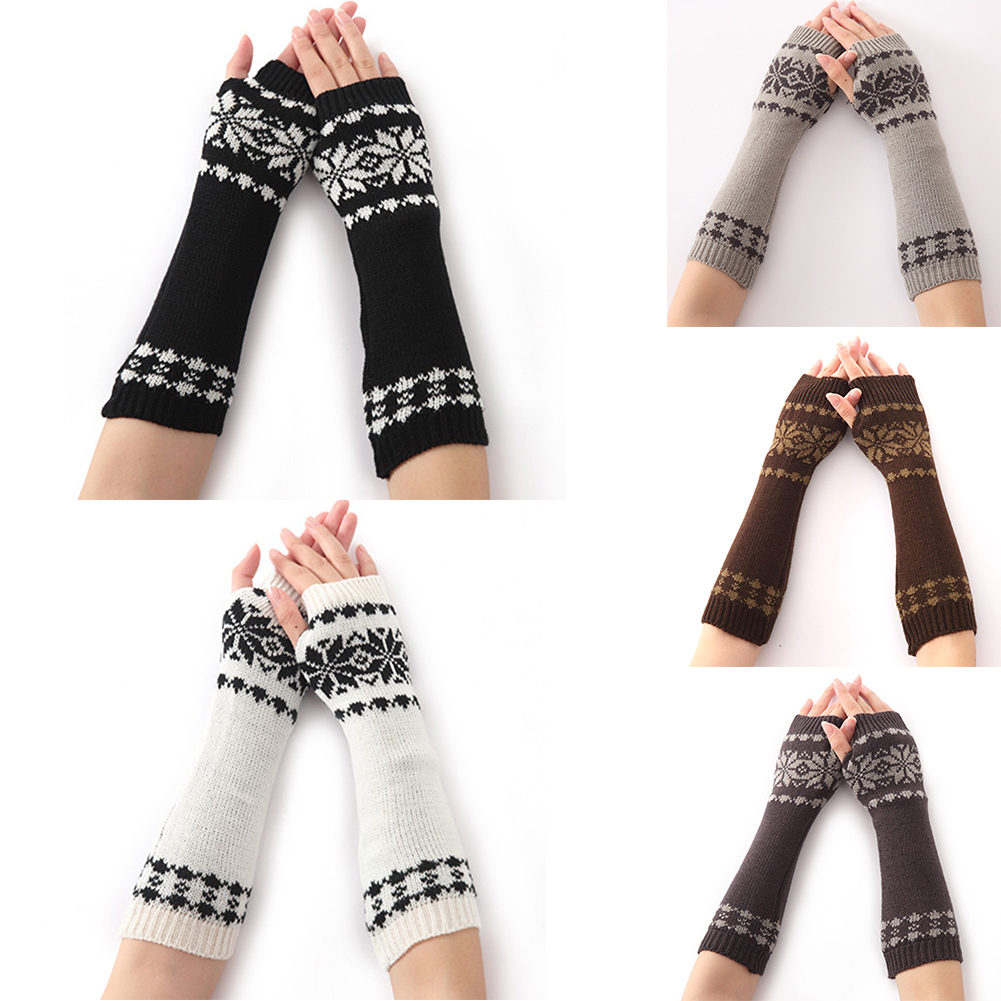 1 Pair Gloves For Women Fingerless Long Knit Girls Gift Snow Pattern Warm Winter Arm Warmer