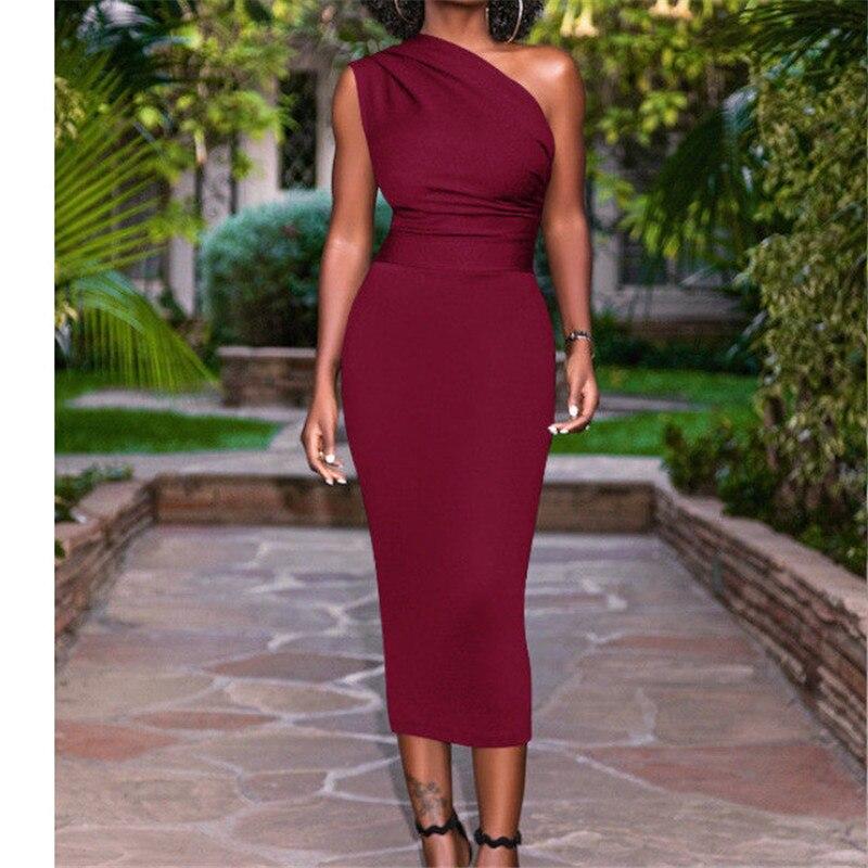 605 22 De Descuentovestido De Fiesta De Verano 2019 Color Sólido Un Hombro Elegante Vestido Ajustado Midi Vestidos De Noche De Fiesta De Mujer In