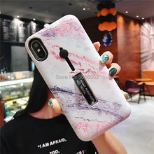 Hot Colorful Marble Floor Pattern Cases for iPhone XS Max XR XS X 7 8 Plus 6 6S Plus Finger Loop Strap Stand Coque Fundas