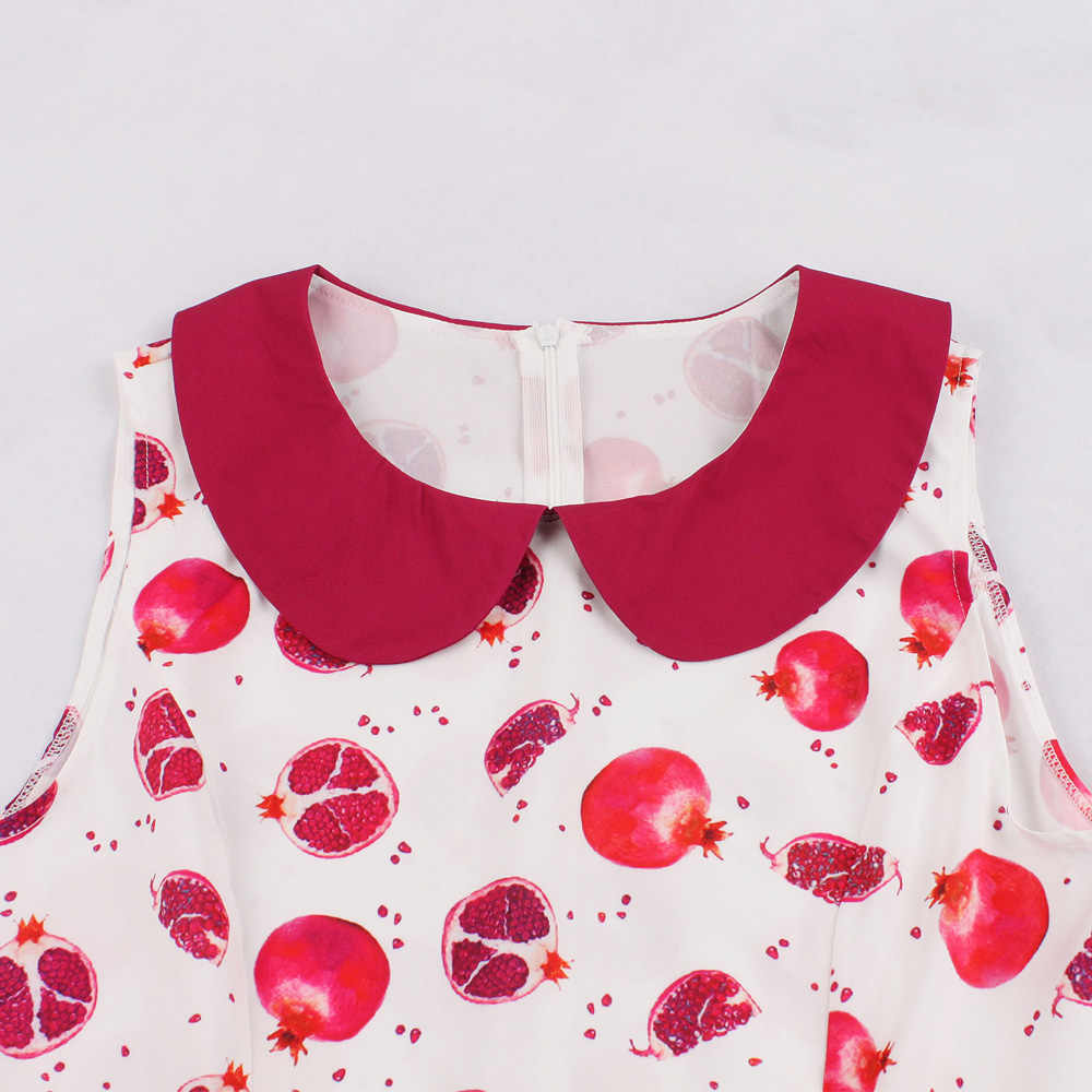 Kenancy элегантный милый розовый Питер Пэн воротник фруктовый принт летнее Ретро женское платье без рукавов ремни винтажное платье 60 s Vestidos Новое