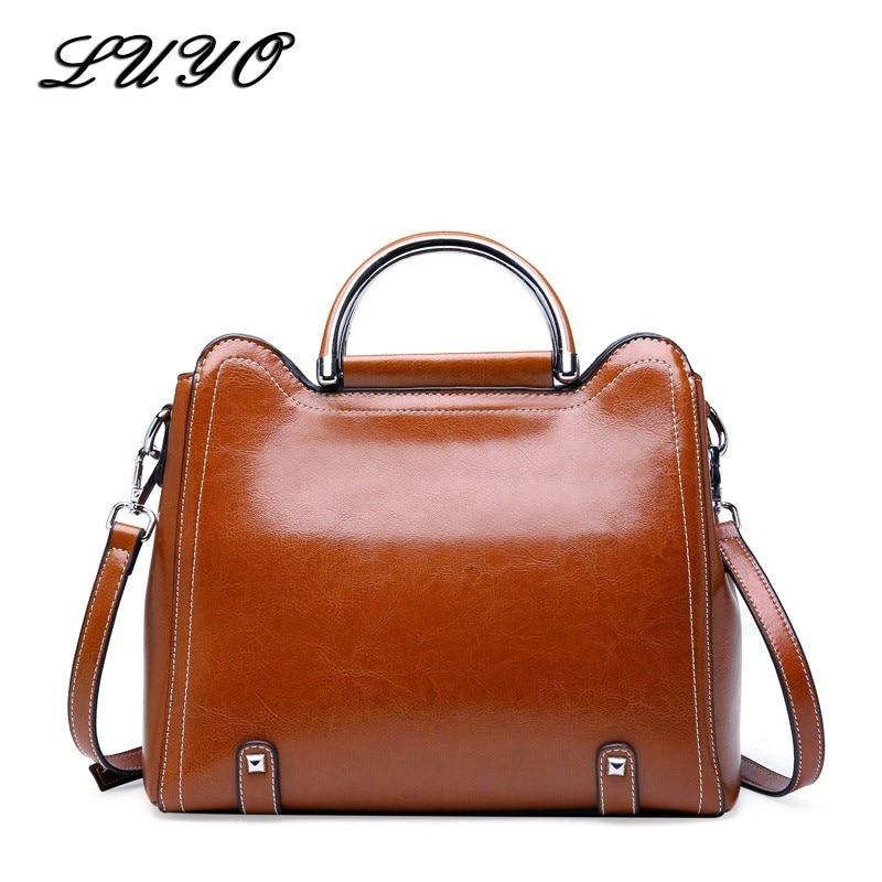 LUYO Vintage Genuine Leather Luxury Handbags Women Shoulder Bags Female Postman Brown Bag Ladies Designer Handbag