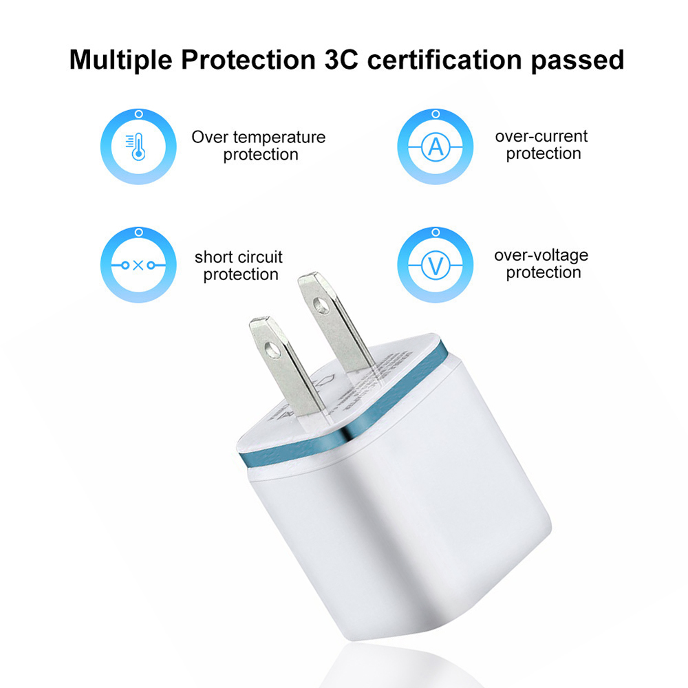 Dual USB Charger 2A Fast Charging Travel EU/US Plug Adapter Portable Wall Charger Mobile Phone Cable For Iphone Samsung Xiaomi(China)