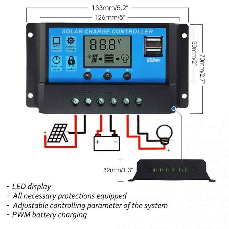 GÜNEŞ PANELI Şarj Regülatörü Güneş Enerjisi Sistemi PWM 10/20/30A Güneş şarj regülatörü 12 V 24 V lcd ekran Çift USB #05