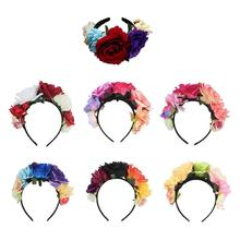 Rose Flower Bride Headband Headdress Costume Crown Mexican Headpiece Wedding Decoration For