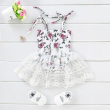 0-24M Kid Baby Girl Lace Dress Toddler Sleeveless Floral Tut