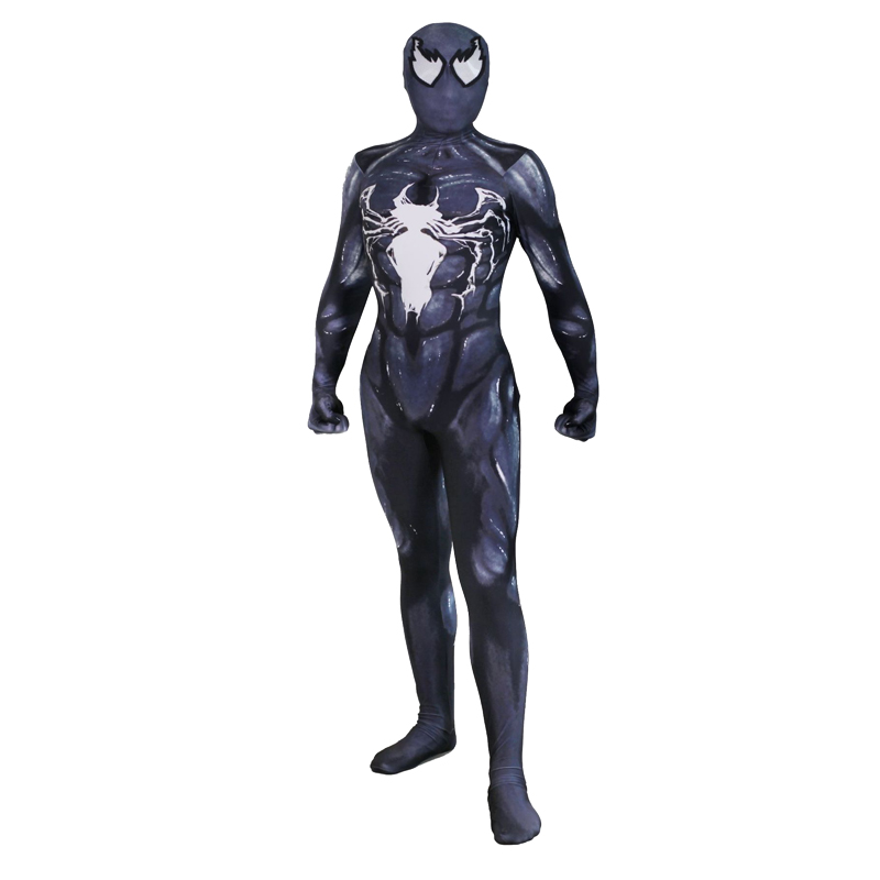 Adult Venom Cosplay Costume Spiderman Zentai Suit Skin Tight Men Women Spandex Jumpsuit Lycra Full Body Bodysuit Halloween
