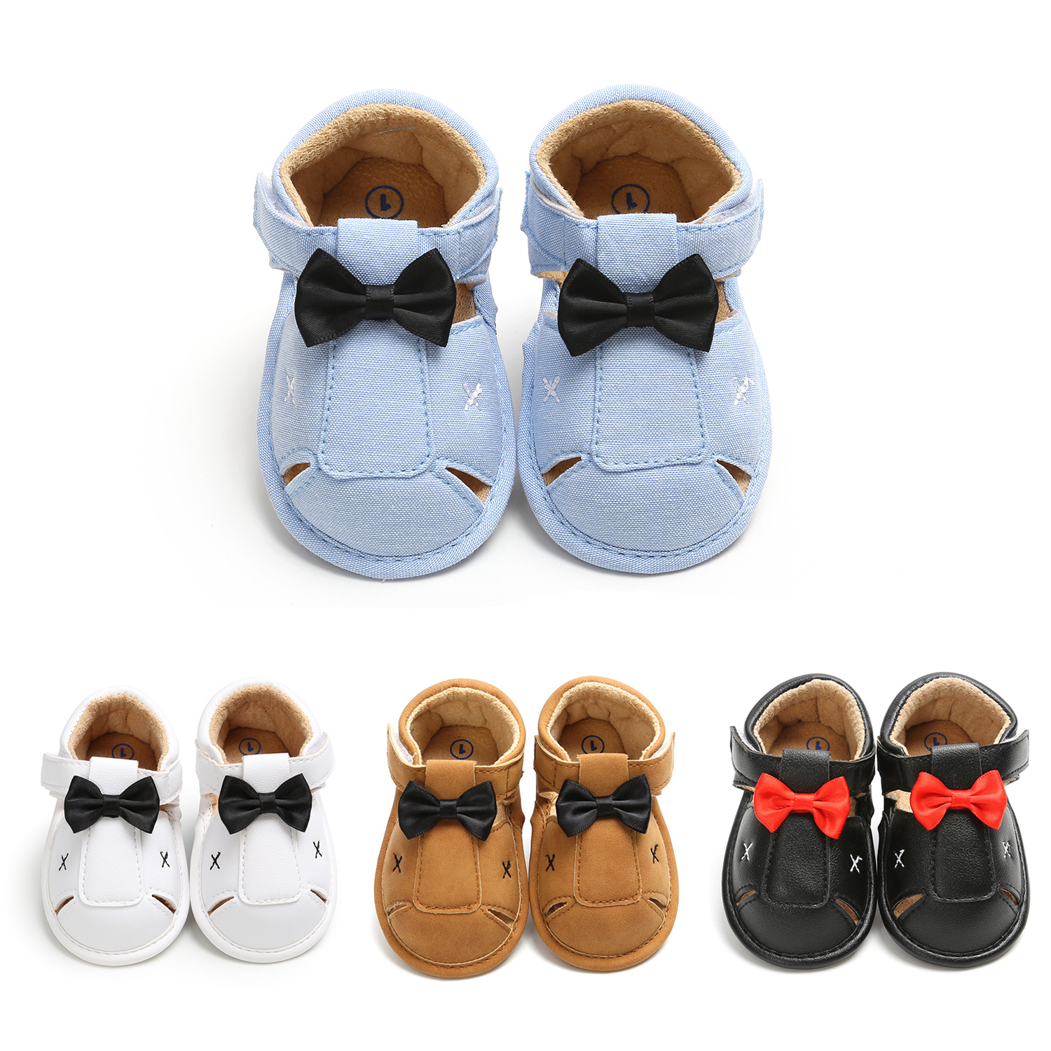 2020 Summer New Baby Boys Sandals Bow Tie Gentleman Baby Shoes Soft Sole Infant Toddler First Walkers Baby Crib Shoes