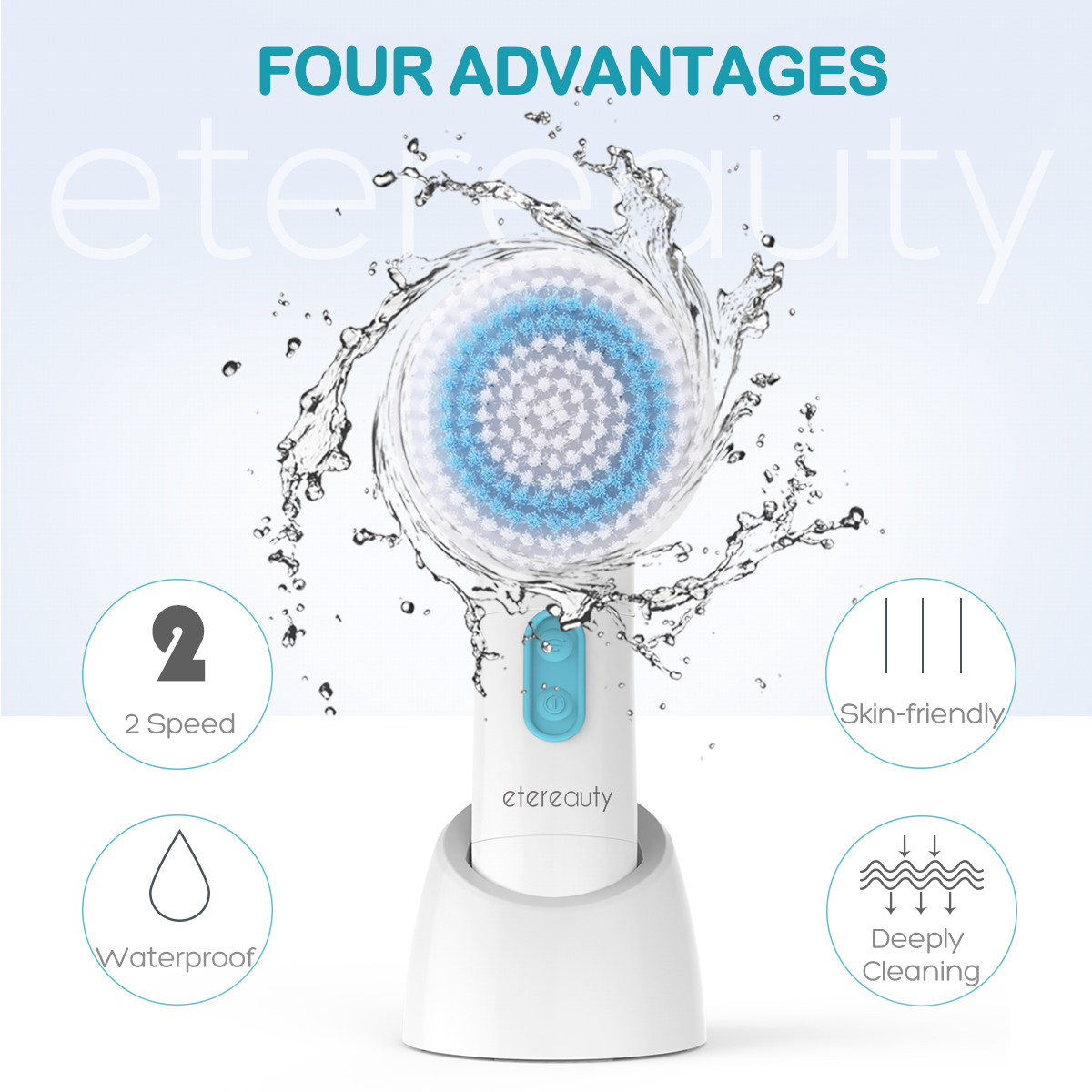 ETEREAUTY 5 In 1 Electric Facial Washing Cleaning Machine Face Skin Care Tool Vibrator Massager Face Cleansing Brush