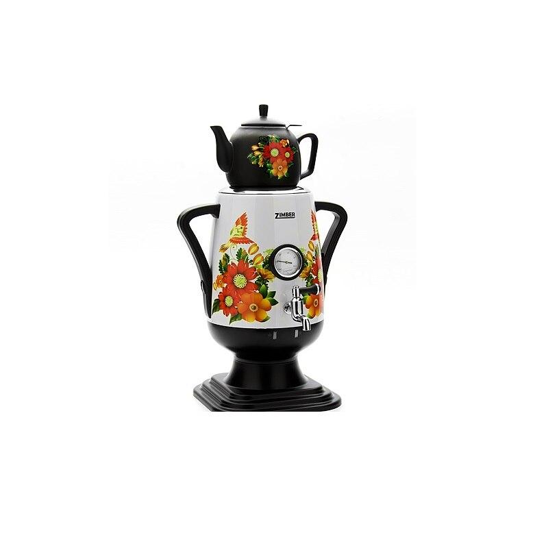 лучшая цена Самовар электрический ZIMBER, 3,2 л, с заварочным чайником, с термометром, белый