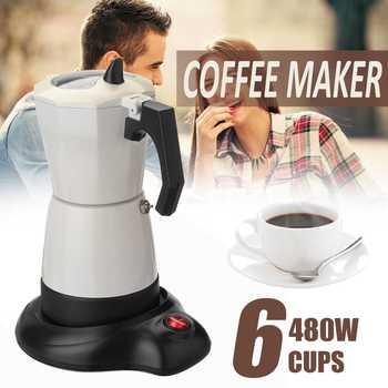 480 W 6 כוסות חשמלי תה קפה מכונת אספרסו מוקה קפה נשלפת מטבח כלי בית משרד קל נקי