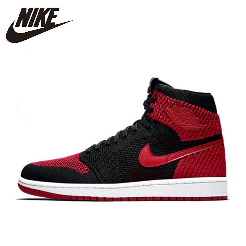 Nike Air Jordan 1 Flyknit AJ1 nouveauté officiel hommes chaussures de basket-ball respirant Sports de plein Air baskets #919704