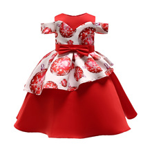 Girl Christmas Dress New Year Party Birthday Princess Children Dresses Girls Clothes Ball Gown Kids Dresses Knee-length new 2017 summer girls dresses cotton sleeveless flowers kids knee length cute floral o neck children ball gown hot sale clothing
