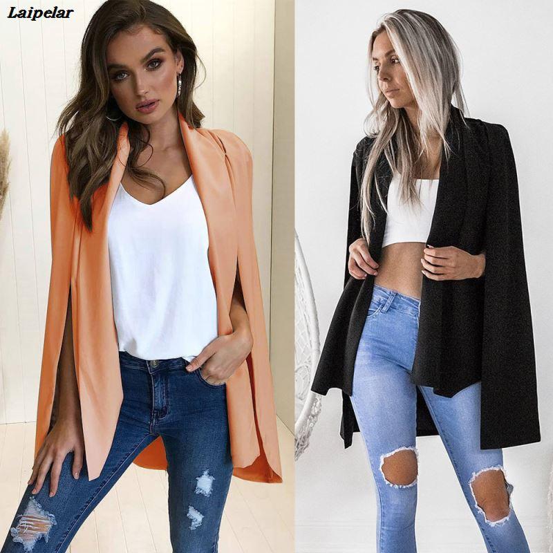 2 Colors Fall Fashion Jacket Coat Blazer Women Loose Sexy Casual OL Cape Jackets Coats Blazers Blaser Feminino Tops Woman Suit