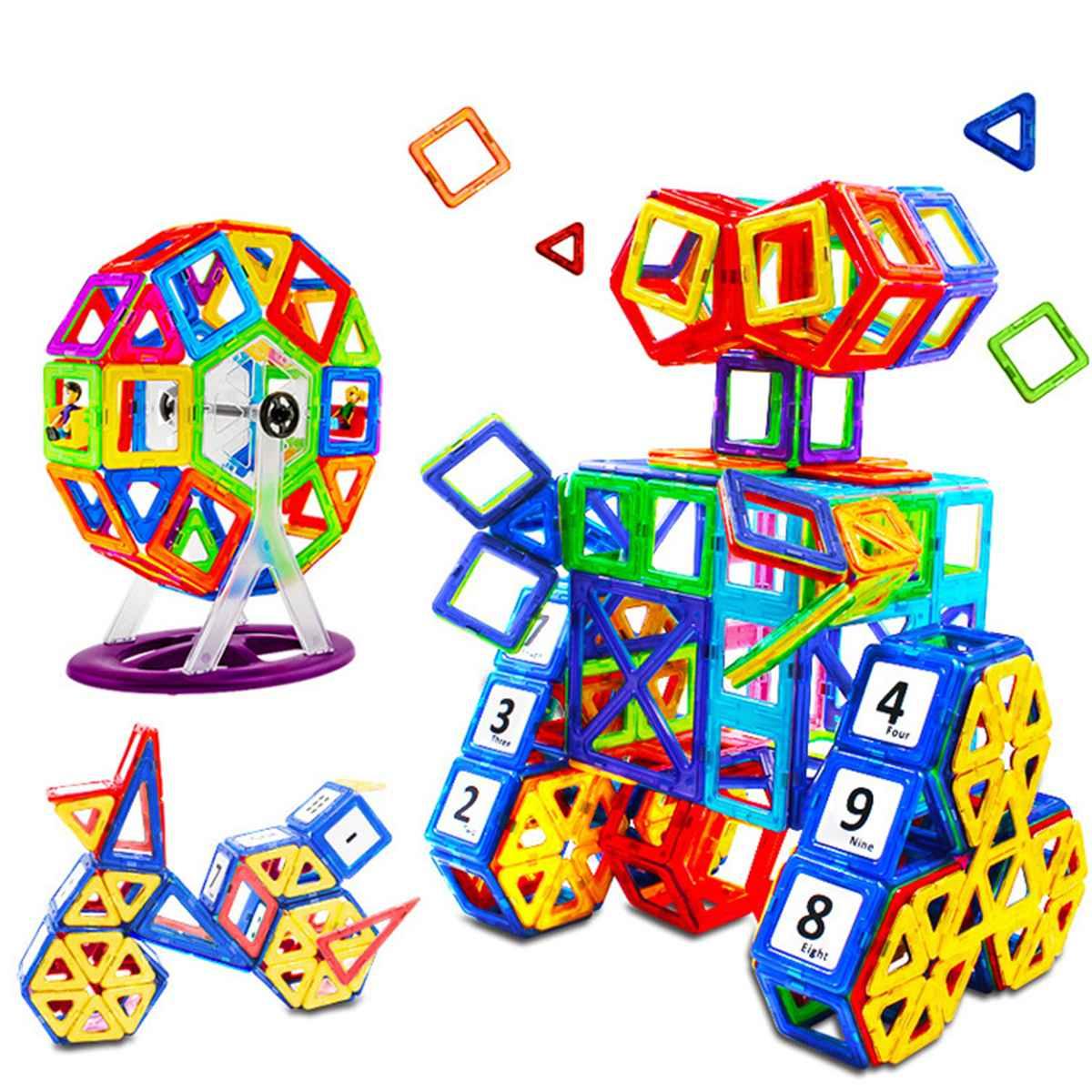 100% Kwaliteit 217 Pcs Diy 3d Bricks Magnetische Bouwstenen Speelgoed Tegels Kids Kinderen Intelligentie Educatief Speelgoed Set Gift Modellen Building Kit
