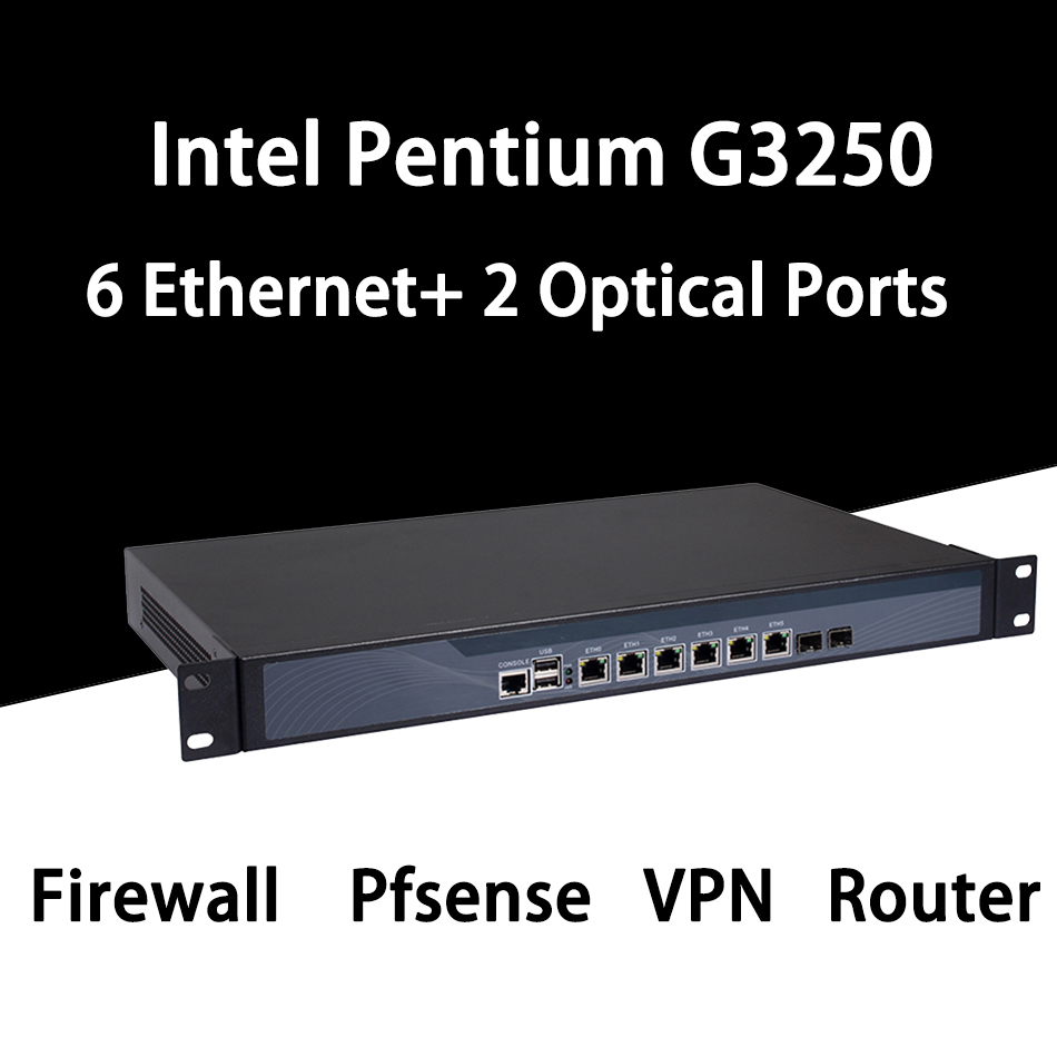 Firewall Mikrotik Pfsense VPN Network Security Appliance Router PC Intel Pentium G3250,[HUNSN SA17R],(6LAN/2USB/1COM/1VGA)