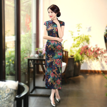 Sheng Coco Women's Vintage Cheongsam Dresses Long Lady Satin Silk Printing Flower Shanghai Vintage Chinese Cheongsam Qi Pao 4XL все цены