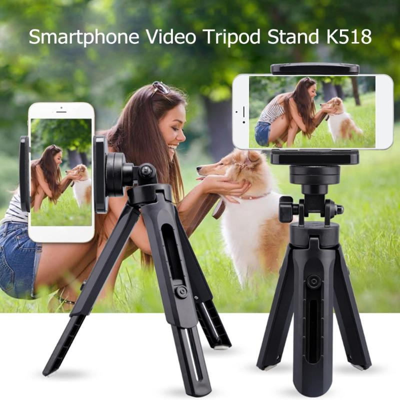 Mini Telescopic Smartphone Video Tripod Stand Handle Grip Selfie Stick with Phone Clip Outddoor Tool for Travel
