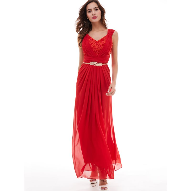 Dressv V Neck Prom Dress Red Sleeveless Ruched Floor Length Dresses Formal Evening Black Lace Pleated Chiffon A Line Prom Dress