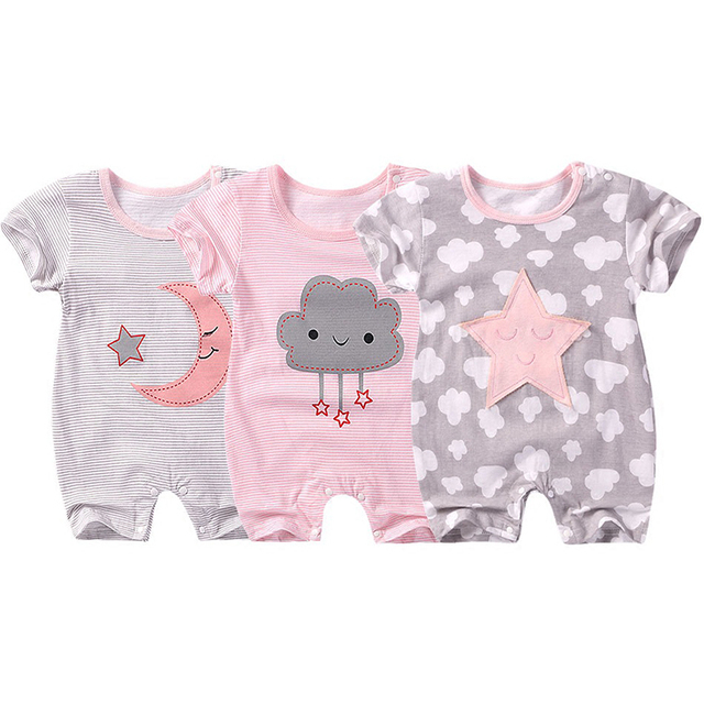 Unisex Baby Rompers Short Sleeve Cotton Overalls Newborn Clothes Moon Star Toddler Boys Girls Jumpsuit 2019 Summer Clothing