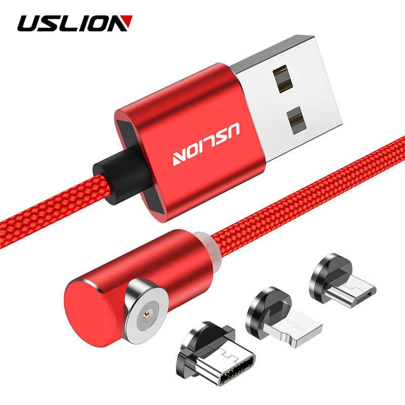 USLION LED المغناطيسي سريع شحن المصغّر usb نوع C كابل L-TYPE المغناطيس سلك USB شاحن آيفون X XS 8 7 6 المصغّر usb C كابل