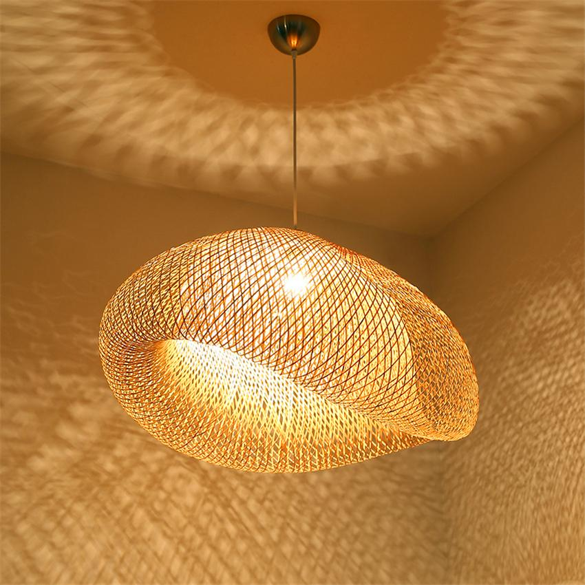 Modern Pendant Lamp Wood Bamboo Art Pendant Lights Lighting Rattan Dining Room Home Indoor Luminaire Kitchen Fixtures Decoration