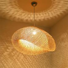 Modern Pendant Lamp Wood Bamboo Art Lights Lighting Rattan Dining Room Home Indoor Luminaire Kitchen Fixtures Decoration