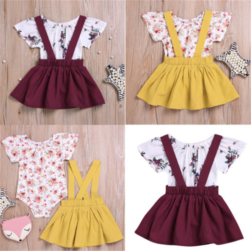 UK Newborn Baby Girl Romper Jumpsuit Tops Flower Skirt Dress Outfits Clothes Set