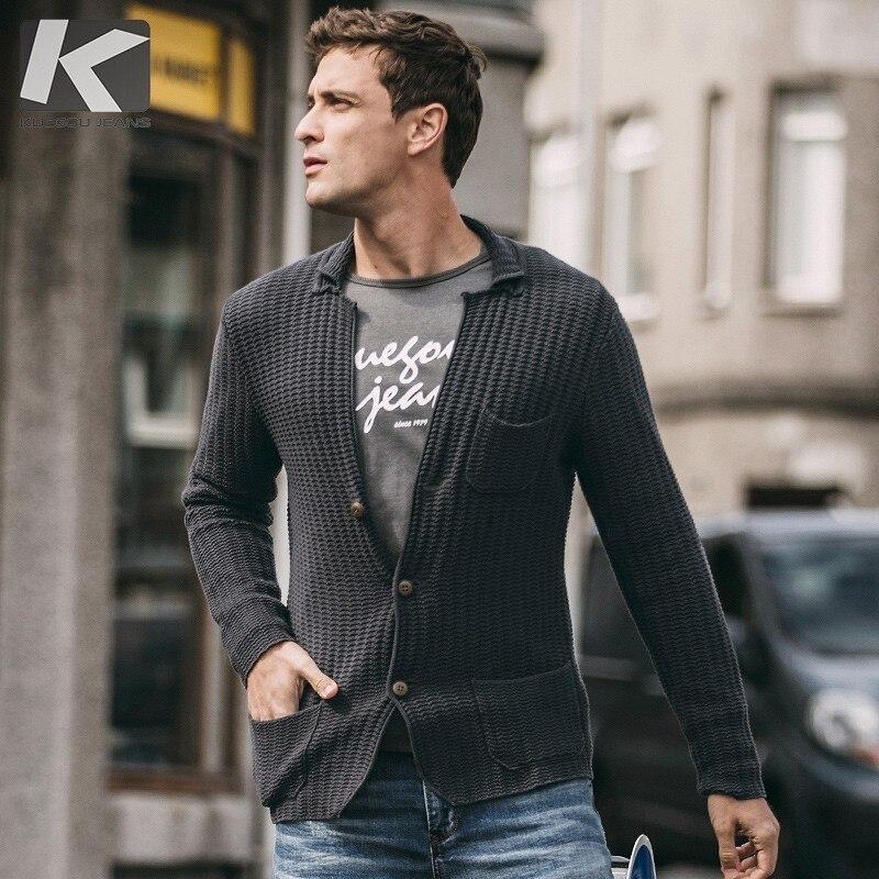 Automne hommes chandail 100% coton poche gris foncé couleur Cardigan pour homme mode Slim vêtements 2018 homme porter manteau à tricoter 18219