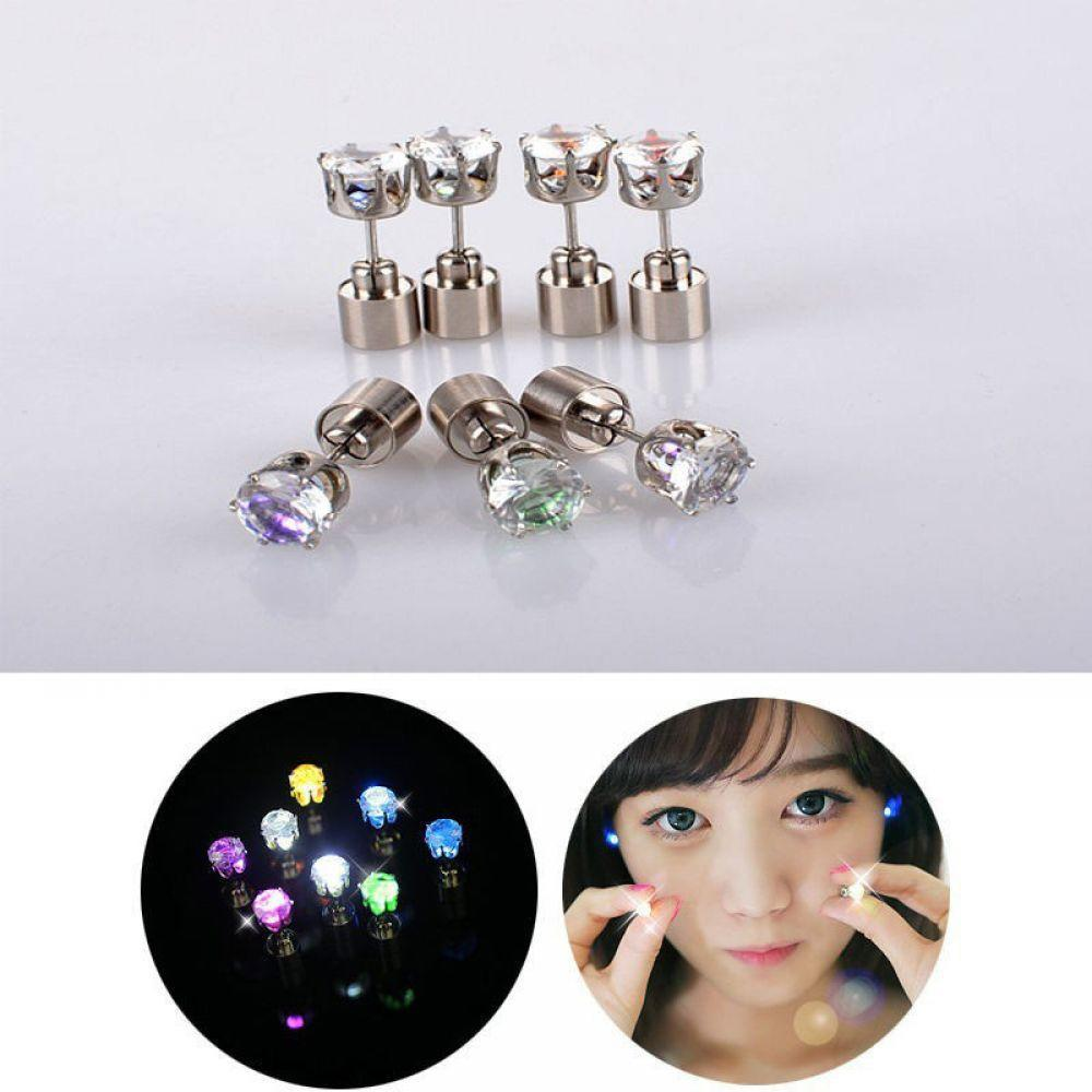 Unisex Cool Light Up Led Blinking Earrings Studs Dance Party For Party//Xmas Club