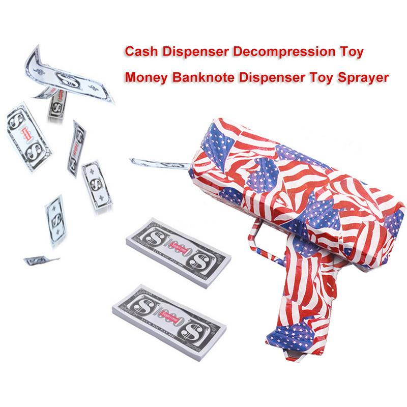 Cash Dispenser Decompression Toy Money Banknote Dispenser Toy Sprayer Unzip The Cool Spray Gun Shooting Money Spitting Money