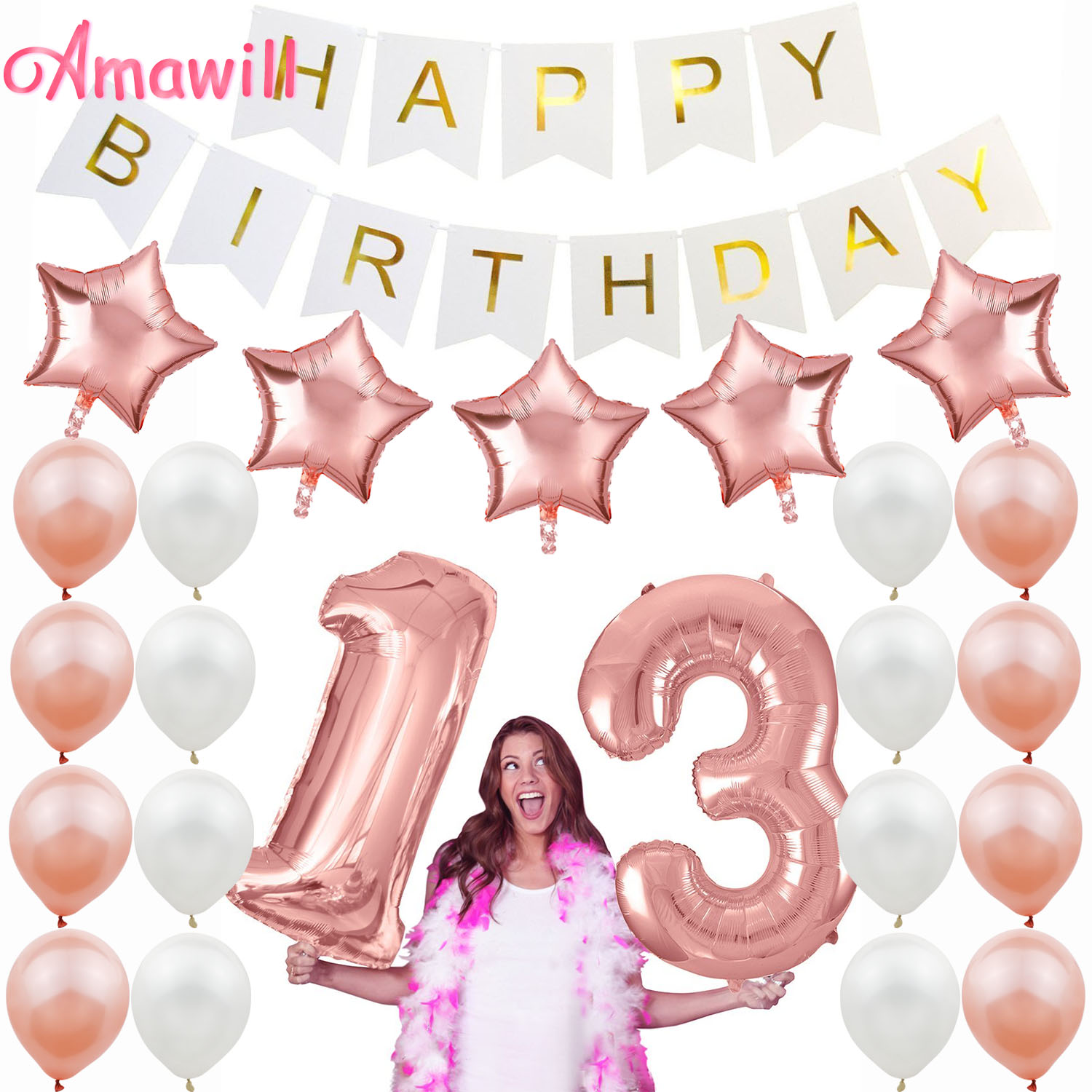 Us 0 81 29 Off Amawill Rose Gold 13th Birthday Decorations Birthday Party Supplies For Girls Latex Balloon Foil Star Happy Birthday Banner 7d In