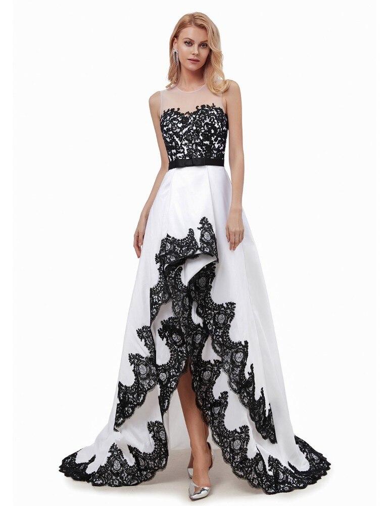 Vivian's Bridal 2019 Elegant Ruffle Asymmetrical High Low   Evening     Dress   Sexy Illusion Lace Appliques Women Formal Party   Dress