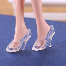 10pcs Doll Accessory Glass Shoes Replica Transparent High Heeled Toy Shoes Fashion Cute Shoes For Baby Doll Christmas For Kids(China)