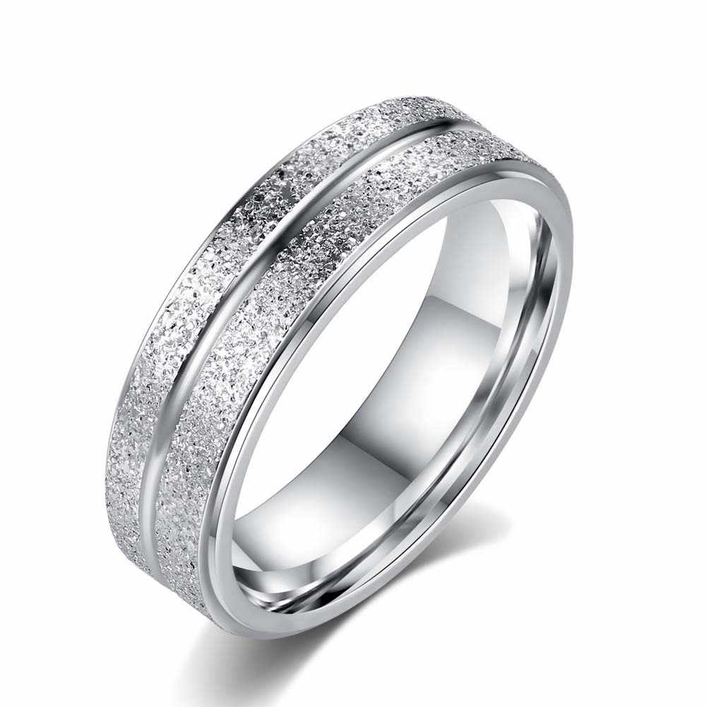 Simple Ring Female Fashion Stainless Steel Ring Silver Colour Scrub Rings 316L Stainless Steel Rings For Women