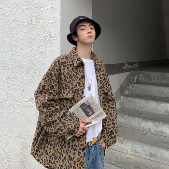 Spring New Leopard Jacket Men's Fashion Printing Trend Wild Casual Jacket Man Streetwear Hip Hop Loose Bomber Jacket Male