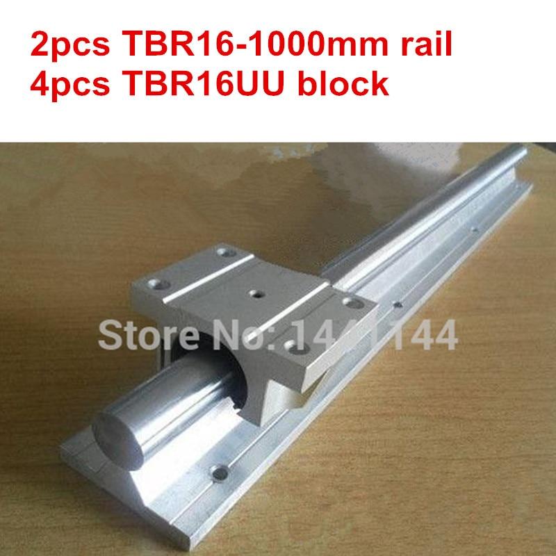 TBR16 linear guide rail: 2pcs TBR16 - 1000mm linear  rail + 4pcs TBR16UU Flange linear slide block