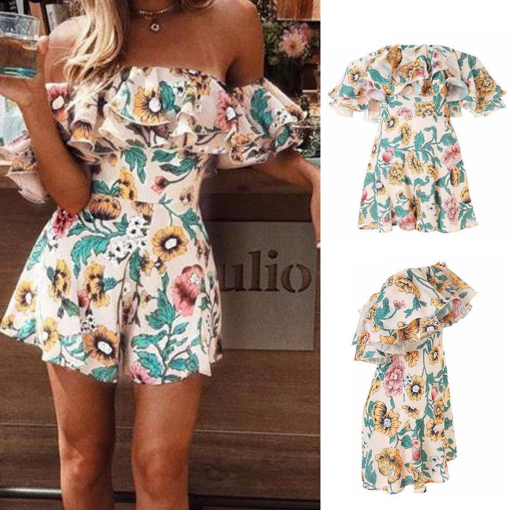 Boho Floral Print Ruffles Playsuits Women Elegant Autumn White Off Shoulder Jumpsuits Rompers Sexy Beach Girl Short Overalls