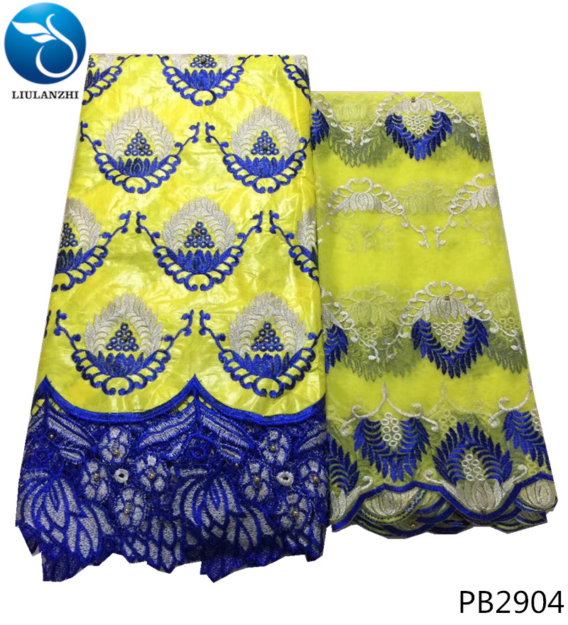 LIULANZHI African Bazin Riche Lace Fabric Embroidered Beads new design Bazin Riche Getzner Fabric For Party