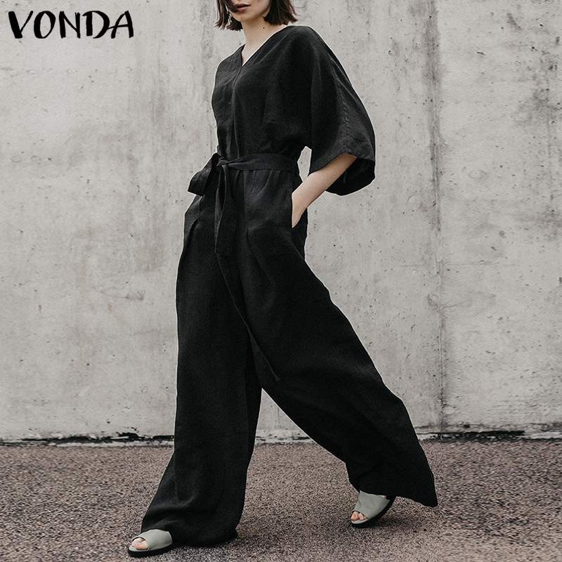 VONDA Plus Size Women Rompers   Jumpsuit   2019 Autumn Vintage V-Neck Back Button Elastic Waist Black Playsuit Casual Wide Leg Pants