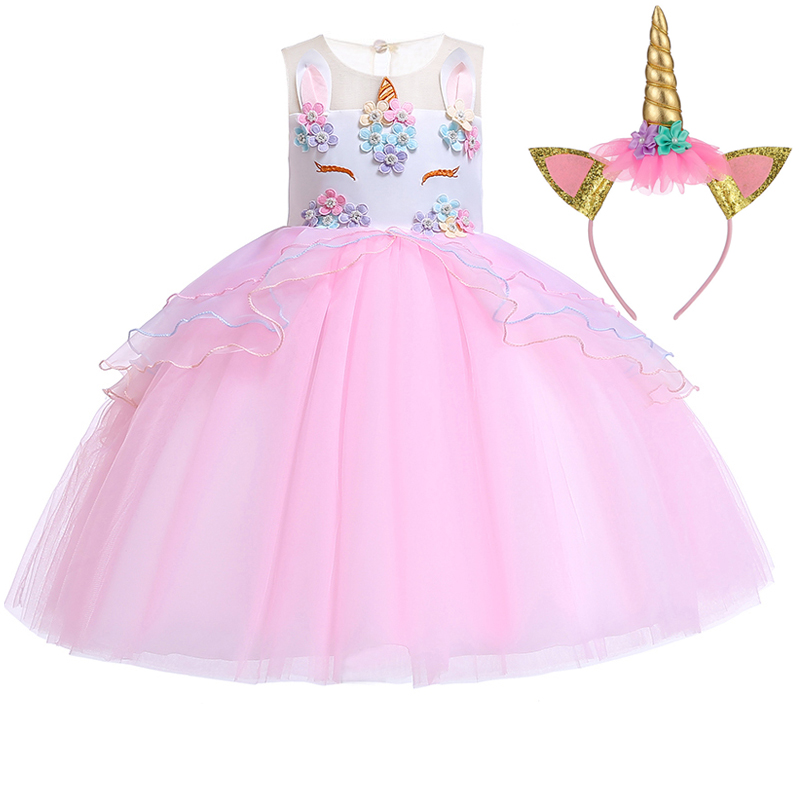 c0c1d8eb1 2019 vestido de Pascua ropa de niña princesa disfraz de boda vestidos para  niñas vestido de fiesta unicornio Vestido 2 3 9 10 años