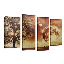 KiWarm 4PCS New Modern Unframed Yellow Moon Night Landscape Canvas Painting Poster Wall Home Room Decoration Gift Art Sets(China)