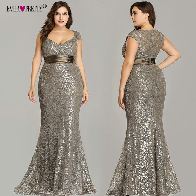 Plus Size Evening Dresses 2019 Ever Pretty EP08798CF Elegant Mermaid Lace Sleeveless Party Gowns Vintage Sexy  Robe De Soiree 2