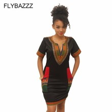 African Dresses for Womens Explosion Models 2019 Positioning Printing Black Ethnic Beach Dress Sexy V Neck Bodycon Mini